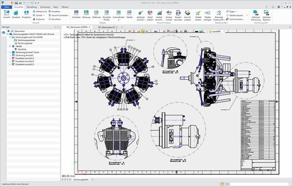 ZW3D CAD besitzt eine assoziative 2D-Zeichnungerstellung